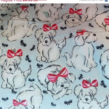 Flannel dog fabric maltese sheepdog cotton quilting sewing material by the yard