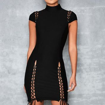High Neck Cap Sleeve Lace Detail Bandage Dress
