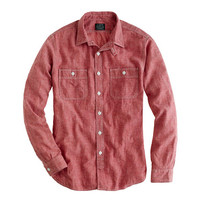 J.Crew Mens Slim Red Selvedge Chambray Utility Shirt