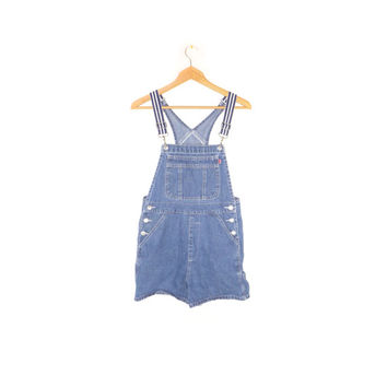 90s LONDON LONDON denim overall shorts / vintage 1990s overalls / lobster clip / elastic straps / size medium