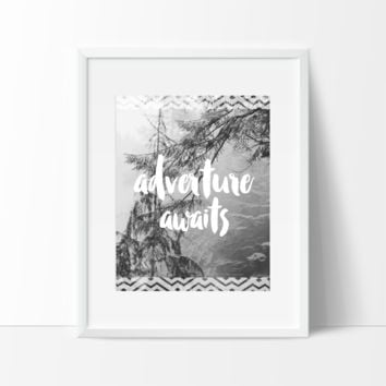 Adventure Awaits Typography, Wall Art, Indie Bohemian