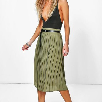 Nieve Chiffon Pleated Midi Skirt | Boohoo