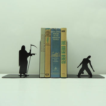 Grim Reaper Metal Art Bookends - Free USA Shipping