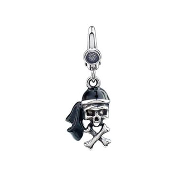 Sterling Silver & Enamel, Antiqued 3D Pirate Skull Clip-On Bead Charm