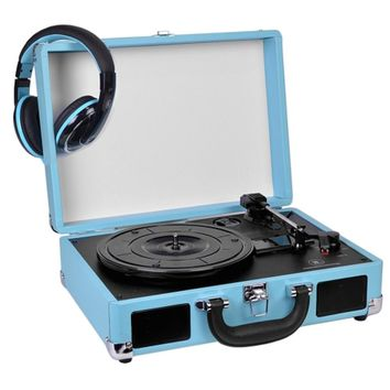 Innovative Technology 3-Speed Vintage Suitcase Turntable w-Built-in Stereo Speakers & Matching Headphones (Turquoise)