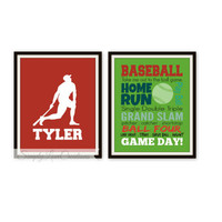 Baseball Word Art Print - 2 Piece Set Personalized Name / Nursery Decor / Children's Wall Art / Playroom Decor / Baseball / Sports Decor