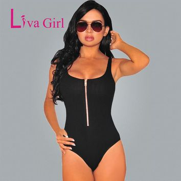 2017 Front-Zip Spandex Backless Sexy Bodysuit Women Sleeveless Off Shoulder Summer Romper Women Sexy Jumpsuit With Shorts
