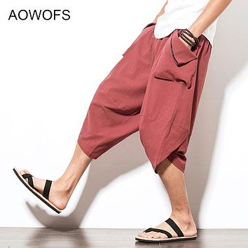 Summer Pants Men 2017 Loose Cotton Linen Casual Pant Drop Crotch Fashion Drawstring Hip Hop Harem Men's Trousers Big Size 5XL