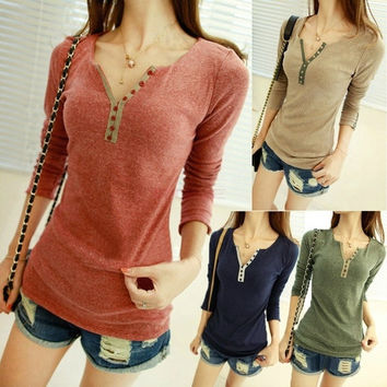 Women's Girls Long Sleeve Bottoming Shirt Crew Neck T-shirt Solid Top 9533 Base shirt One size