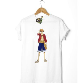BAPE x ONE PIECE Print Cartoon Casual Short Sleeve Shirt Top Tee Blouse  G-A-GHSY-1   B-YF-MLBKS