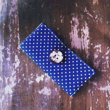 Essential oil case, essential oil holder, eo, navy blue, polka dots, chapstick holder, lipgloss holder, fabric