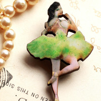 Green Ballerina Brooch, wooden ballerina brooch, ballerina brooch, dancer brooch