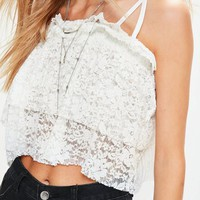 Missguided - White Pleated Lace Cami Crop Top