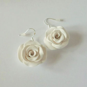 White Rose Earrings, Made To Order, Yorkshire Rose, White Wedding, Bridal Earrings, Flower Jewellery, White Earrings