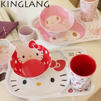HELLO KITTY kitchen Dinnerware sets plastic cup kit school lunch dinner set for kids promotion cartoon plate bowl set