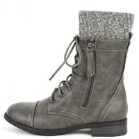 Justina-58 Sweater Cuff Ankle Boots | MakeMeChic.com