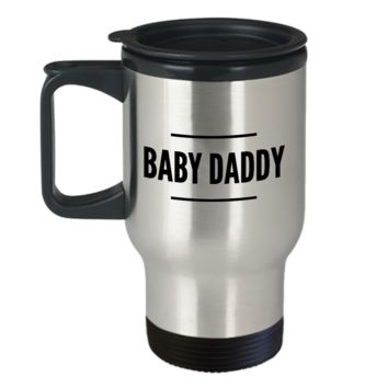 Baby Daddy Travel Mug New Dad Gifts Ideas Funny - Baby Daddy Stainless Steel Insulated Travel Coffee Cup with Lid