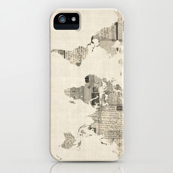 Map of the World Map from Old Postcards iPhone & iPod Case by ArtPause