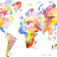ooak- Original World Map Art - Colorful Watercolor Painting -5 x 7