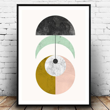 Geoemtric print, Scandinavian art, Watercolor wall art, Minimalist print, Mobile print, Mid century modern, marble print, wall decor, simple