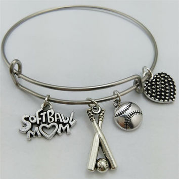 Softball Mom & Bats Charm Wire Bangle Love Bracelet Handmade Jewelry