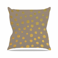 "Nika Martinez ""Earth Golden Dots"" Brown Yellow Outdoor Throw Pillow"