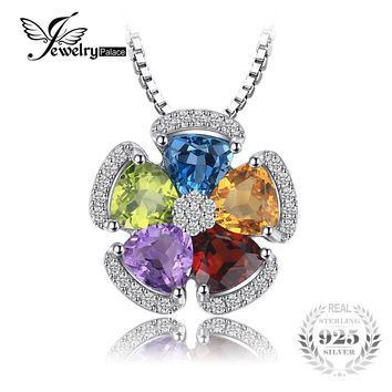 JewelryPalace 2.6ct Natural Blue Topaz Amethyst Citrine Garnet Peridot Pendants 925 Sterling Silver Jewelry Not Include a Chain