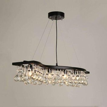 Z American Style Crystal Ball Chandelier Rectangular Wave Design Iron Restaurant Lamps Kitchen Lights Modern Lighting Fixture