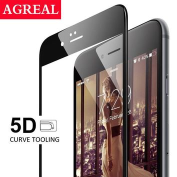 AGREAL 5D Tempered Glass Screen Protector Film Case for iPhone 6 6S 6plus 6splus 7 7Plus New Upgrade 4D Curved Edge Full Cover