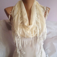 Cream Lace Scarf - Cream Wedding Scarf - Bridesmaid Scarf Gift - Leaf Scarf - Weddings