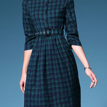 Green Plaid Belted Midi A-Line Dress