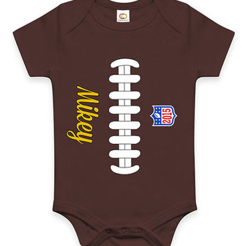 Personalized Football Custom Baby Bodysuit Infant Clothes Jumper Customizable Baby Shower Gift New Mom NFL Gift for Baby Boy Football Fan