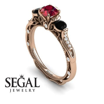 Unique Engagement Ring 14K Red Gold Art Deco Victorian Ring Edwardian Ring Ruby With Black Diamond - Elizabeth