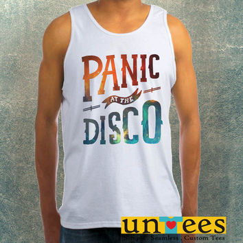 Panic at The Disco Logo on Galaxy Clothing Tank Top For Mens