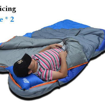 new waterproof camping portable emergency cotton Splicing sleep bagspring outdoor travel envelope style waterproof sleeping bag