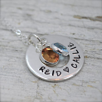 Personalized Hand-stamped Mother's Open Circle Pendant with Birthstones