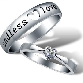 Fashion 18k White Gold Plated Endless Love Couple Style Band Ring = 1930258052