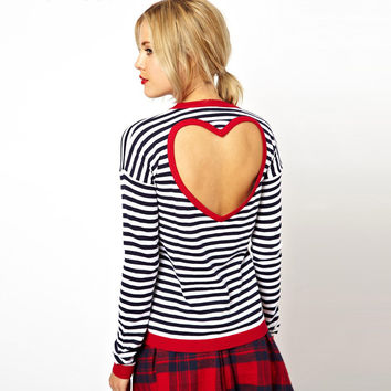 Stripe Cutout Back Heart Red Edge Sweatshirt