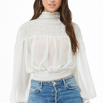 Semi-Sheer Ruffled Turtleneck Top