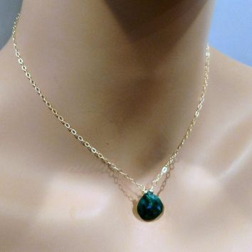 Emerald Faceted Briolette Drop Wire Wrapped 14 K Gold Filled Necklace
