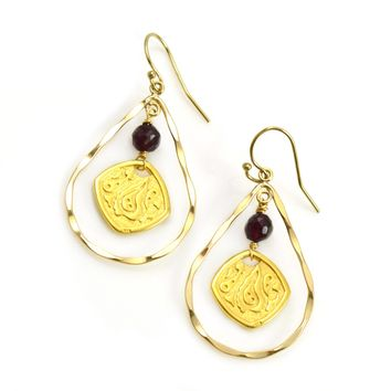 Gold Earrings with Hammered Teardrop and Medallion with Garnet