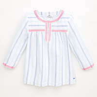 Girls Petite Stripe Embroidered Top
