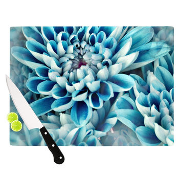 "Susan Sanders ""Floral Paradise"" Blue Flower Cutting Board"