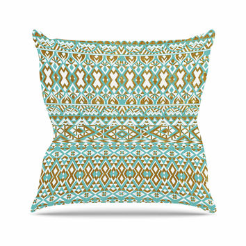 "Pom Graphic Design ""Mint & Gold Tribals"" Teal Brown Outdoor Throw Pillow"