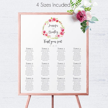 Wedding Reception Table Seating Chart, Wedding Decor, Ceremony,Wedding Seating Template,Printable Seating,Table Seating Chart,DIY Table Plan