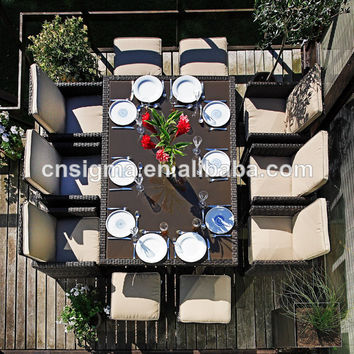 2017 new design outdoor furniture 6 Seater dining table and chair with footstool