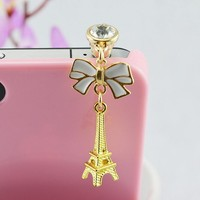Retro Eiffel Tower Bow dust plug for cell phone Universal earphone phone plug phone accessories