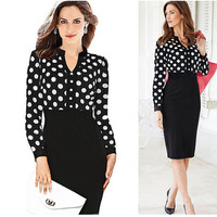 Womens V Neck and Polka Dots Pencil Skirt Package Buttocks and Slim Dress Joining Together Dress