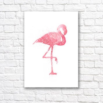 Flamingo Watercolor Wall Art Print - Modern Home Decor - Flamingo Giclee Art Poster - Watercolour Painting Art