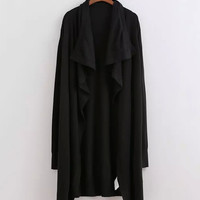 Black Drape Wrap Coat